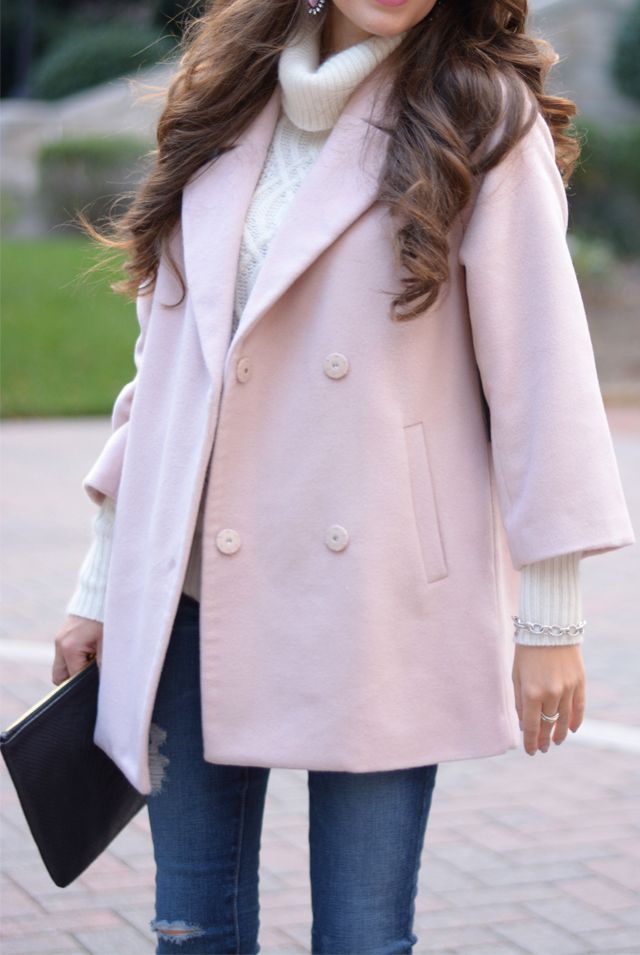 Super light pink pea coat with gorgeous sleeves that let whatever you're wearing underneath peep through
