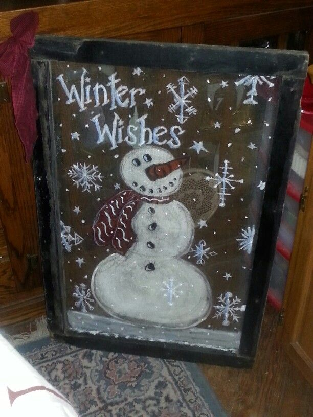 Old window screen recycled-Winter Wishes snowman.  My first try at this. Paint colors:  Antique parchment, white, black, Tuscan red, ripe tomato, nutmeg brown, and real blue.  Mixed the tomato, nutmeg, and black for the nose; white and blue for the snowflake and word shadowing, etc.