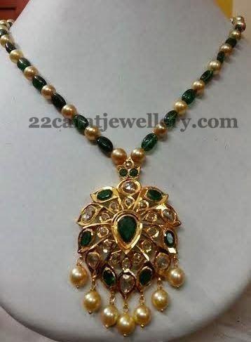 Emerald Beads Set with Pachhi Locket | Jewellery Designs
