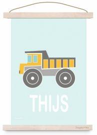 Poster kiepwagen auto voor kinderkamer babykamer in kleuren mint mintgroen grijs geel