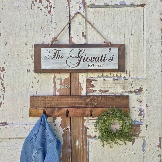 Wall Hanging Coat Rack With Rustic Last Name Sign Personalized Established Year Wooden Name Sign Wooden Coat Rack Wooden Name Signs Custom Wooden Signs