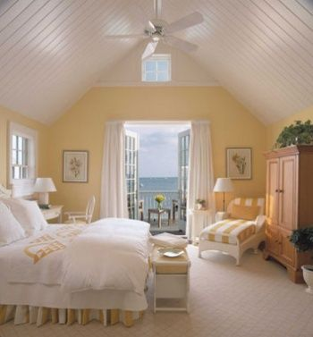 A very sunny bedroom with a fantastic vaulted wood plank ceiling painted  white. Hey, how about wood planking on the ceiling of Jason's vaulted  sunroom?