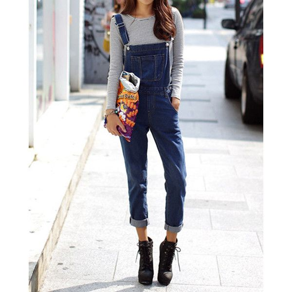 Casual Style Solid Color Straight Leg Women s Denim Overalls ($22) ❤ liked on Polyvore featuring jumpsuits, blue, denim overalls, white overall, denim bib overalls, white denim overalls e blue overalls