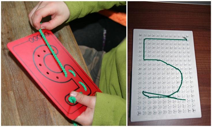 cijfer herkenning oefenen  naaicijfers en tekenen met snoer zijn te bestellen via www.toys42hands.nl