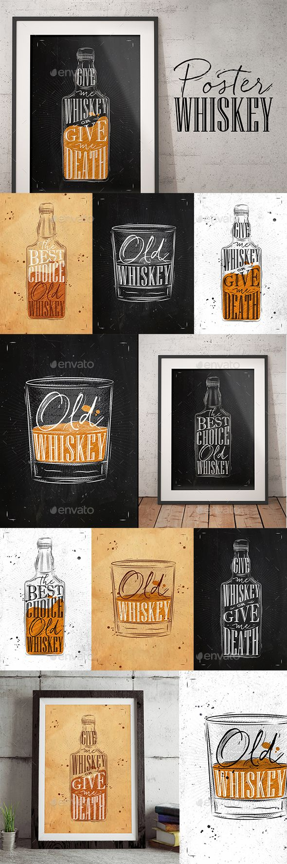 Whiskey Posters - Food #Objects Download here: https://graphicriver.net/item/whiskey-posters/19741360?ref=alena994
