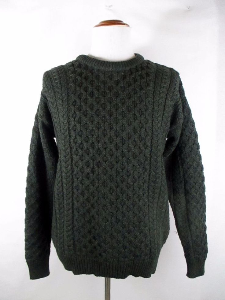 INIS CRAFTS Mens XXL Cable Knit Fisherman Irish Sweater Green Heavy Ireland Crew #InisCrafts #Crewneck