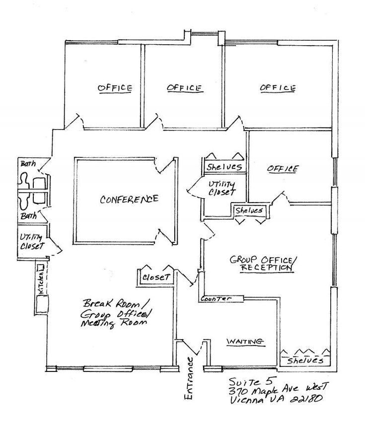 4 Small Offices Floor Plans | Private Offices, Large Group Office, Conference Room, Kitchen,