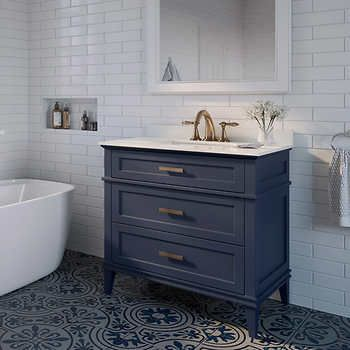 Ove Tux 36 In Midnight Blue Vanity Midnight Blue Finish Bombay White Marble Countertop Pre