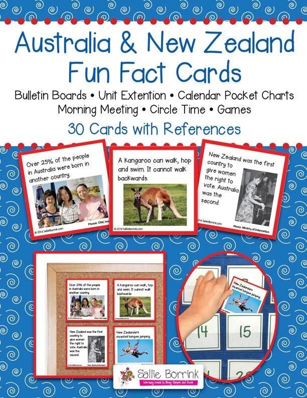 "Australia and New Zealand Fun Fact Cards - Great for Unit Extension Activity, Bulletin Boards and Games - One teacher said: ""My kids are addicted to reading these facts cards every morning. If I forget to read one, they are sooo quick to remind me. And the parents are learning too! During conferences, I had many parents tell me how much they had learned from their children when we read the apple and pumpkin cards. Thanks!"""