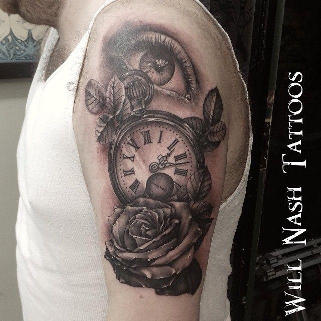 Did this yesterday. Still a few bits to tighten up and background to add. #tattoo #realism #eye #inked #love #ink #silverneedles #essex #willnashtattoos #roses #pocketwatchtattoo #pocketwatch #uktta #ukbta #2014 #tattooing