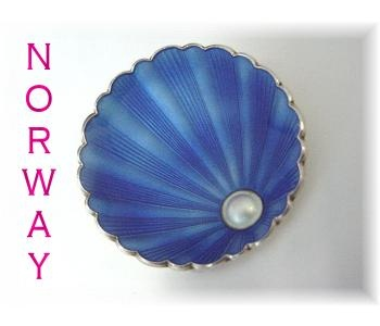 Ivar Holth Norway Sterling Guilloche Blue Enamel Pearl in Scallop Clam Brooch Newport Rhode Island RI Estate Treasure Vintage Jewelry $169  www.FindMeTreasure.com  CLICK TWICE ON PHOTO TO BUY