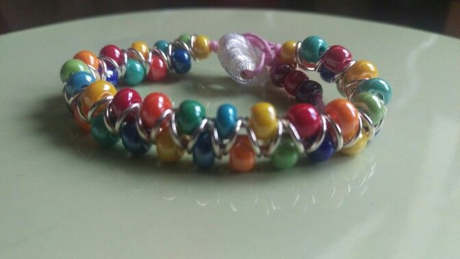 This was a www.queenbeads.co.uk kit. Zig zag bracelet