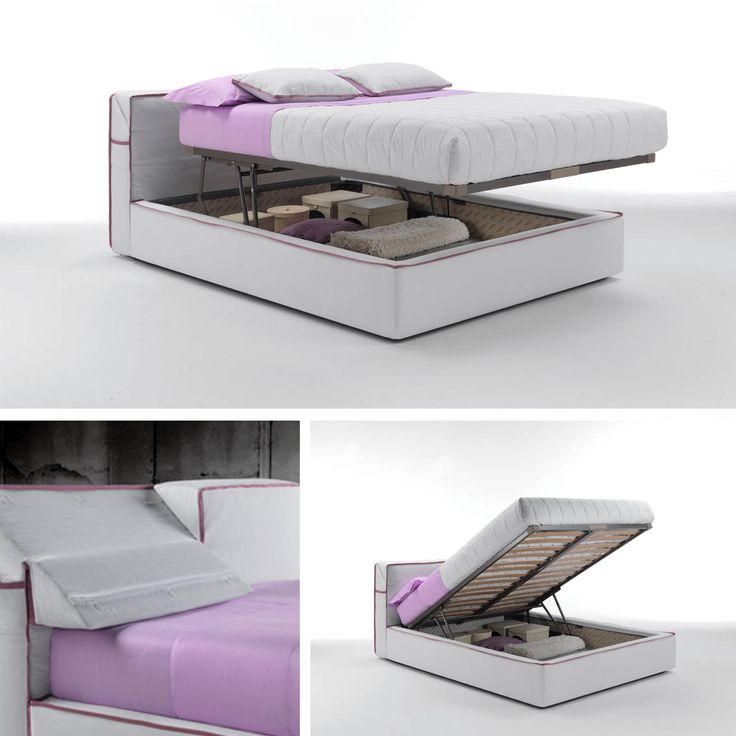 """A #bed with contemporary design, Guadalupe features a comfortable adjustable headrest and a grosgrain edging, which can be designed in various colours. It is available with either a fixed slatted bedstead or with two #storage variations, one a regular storage placed underneath the mattress or with the """"Komodo storage"""", which, in addition to the regular storage, contains a practical system that raises the slatted #bedstead and the #mattress to ease the fitting of the bed linen."""