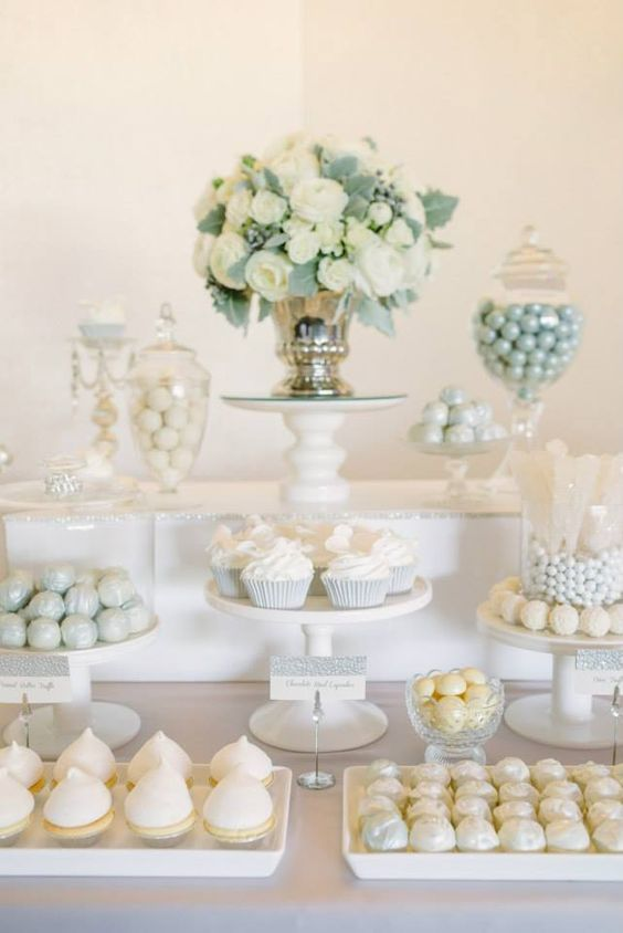 all white wedding dessert table decor / http://www.himisspuff.com/wedding-dessert-tables-displays/2/