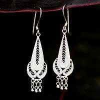 Sterling silver filigree earrings, 'Cycles' by NOVICA