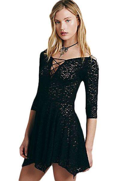 Black Sheer Lace Sleeved Skater Dress https://www.modeshe.com