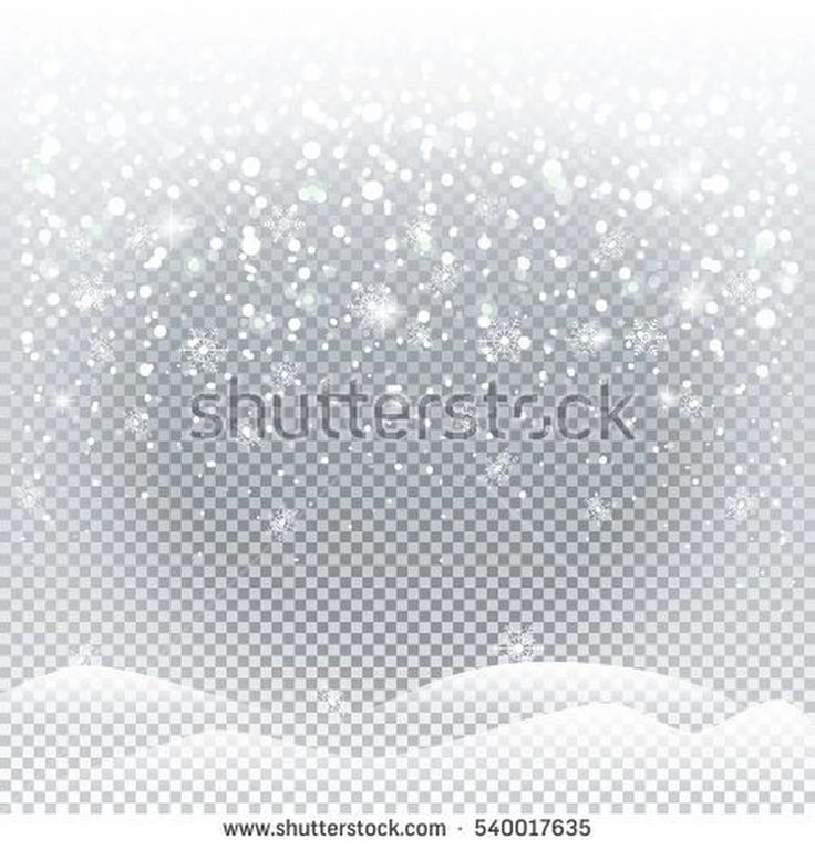 Falling snow, white snowflakes, transparent background. Winter Holiday landscape for Merry Christmas and Happy New Year greeting cards. Christmas decoration. Vector illustration.