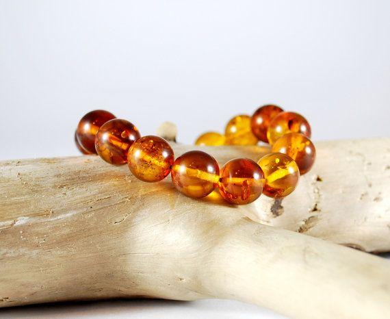 Genuine Baltic Amber Bracelet 13 mm Beads Gold by AmberAndMore