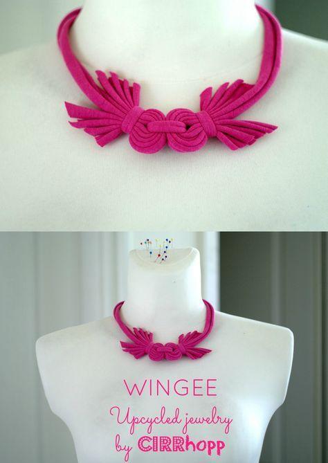 Új! WINGEE rövidállású textilnyaklánc - rózsaszín (cirrhopp) - Meska.hu