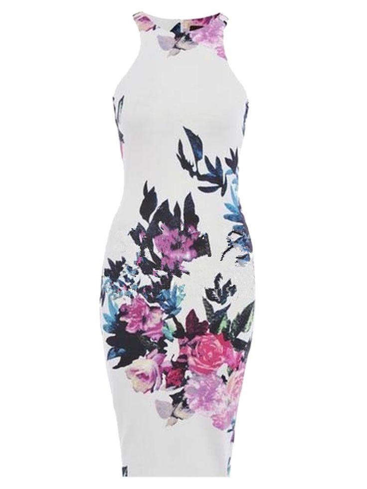 White Retro Floral Cut Away Midi Bodycon Dress
