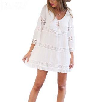 Manera de la tapa 2016 del hueco del ganchillo de las Mujer-s del Otoño del cordón blanco del mini vestido de floja ocasional con cuello en V vestidos de playa Vestidos