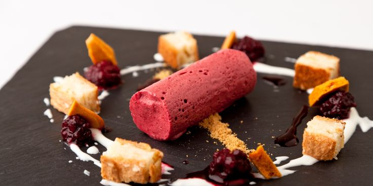 This delicious combination of blackberry parfait, honeycomb and apple sponge is a classic recipe from Kevin Mangeolles from the Neptune Inn, Hunstanton