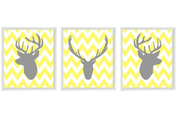 Deer Wall Art Print - Silhouette Gray Yellow Chevron Decor Buck Antlers - Rustic Nature Wildlife - Wall Art Home Decor Set 3 8x10 Prints. $42.00, via Etsy.