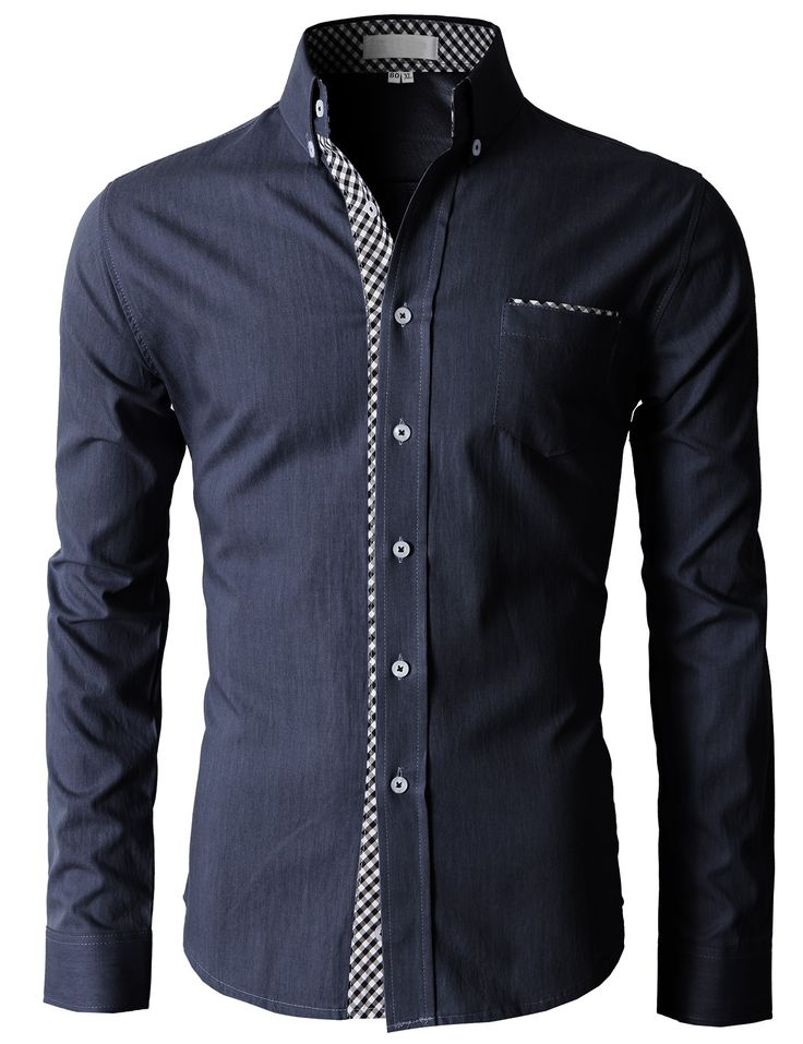 Doublju Men's Button Down Shirts With Plaid Patterned Pointed On The Placket (KMTSTL0125) #doublju