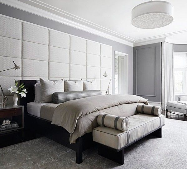 Transitional Interior - Monochromatic Color - Upholstered Wall - Bedroom Furniture - Home Ideas