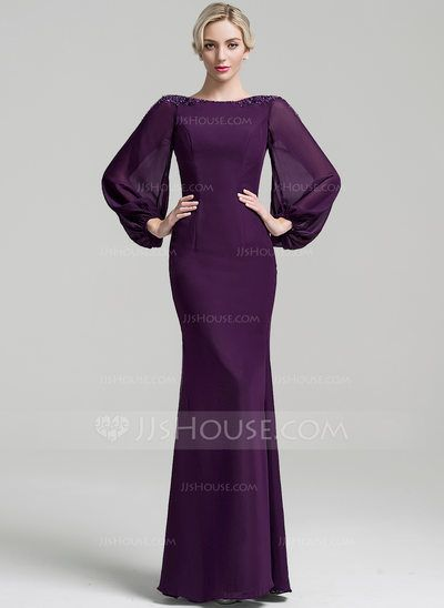Trumpet/Mermaid Scoop Neck Floor-Length Beading Sequins Zipper Up Sleeves Long Sleeves No Grape General Plus Chiffon Mother of the Bride Dress