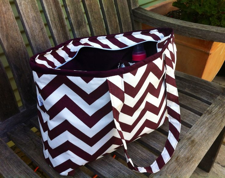 Maroon and White Chevron Diaper Bag, Large Chevron Baby Bag by MyaCdesign on Etsy