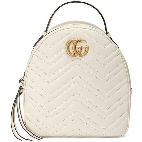 Gucci Gg Marmont Quilted Leather Backpack ($1,790) ❤ liked on Polyvore featuring bags, backpacks, gucci, purses, white, chevron pattern backpack, zip bag, white backpack, chevron backpack and double zip bag