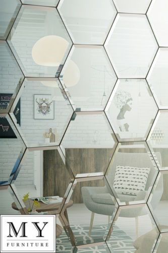 Hexagonal silver mirror bevelled wall tiles suitable for for Pictures suitable for kitchen walls