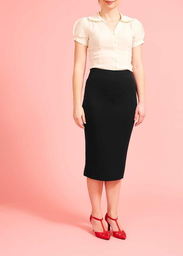 Miss Candyfloss: Sort pencilskirt med høj talje og plisseret slids