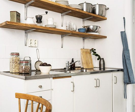 open wood kitchen shelving and white cabinets / sfgirlbybay