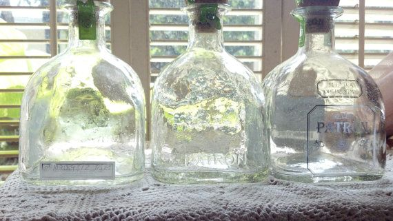 Three (3) Empty Patron Tequila 750ml Clear Glass Empty  Bottles Supplies for Man Cave Crafts, Candles, Lamps,