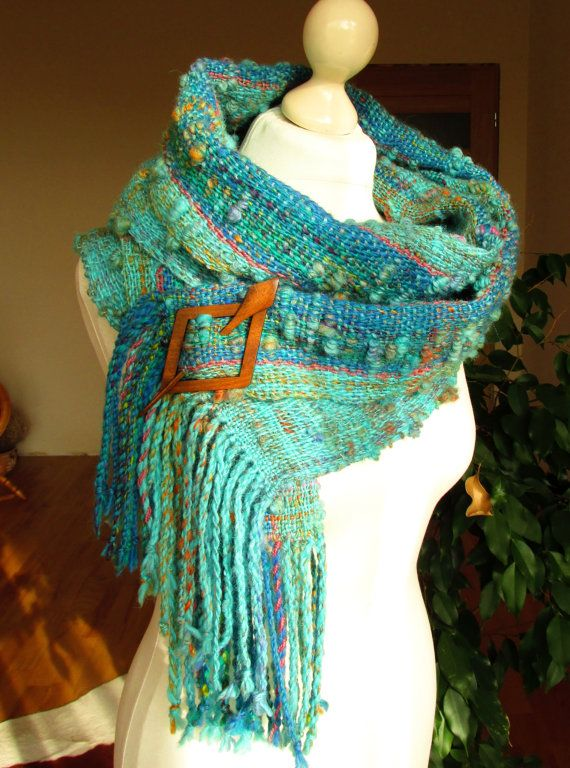 hand woven scarf featuring handspun art yarn. Wool scarf.Art yarn shawl.