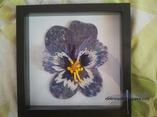 Tryptyk z quillingu. Quilled pansy