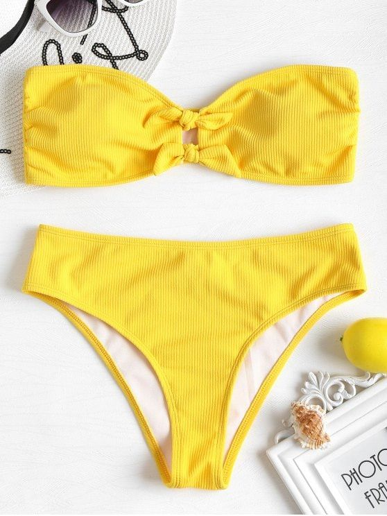 caa0deac61 Ribbed Bowknot Bandeau Bikini Set - RUBBER DUCKY YELLOW S | Bikini /  Swimsuit / Swimwear / Beachwear in 2019 | Bikinis, Bandeau bikini set, Bandeau  Bikini