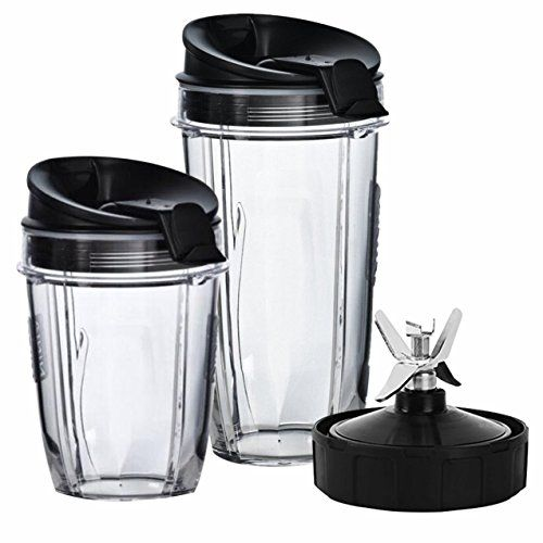 Nutri Ninja Blender Cups and Blade (7-FINS) Set | 5-Piece Replacement Parts & Accessories for Nutri Ninja Auto iQ BL482 BL642 NN102 BL682 BL2013 Blenders  NINJA CUPS UPGRADE KIT: The Perfect Ninja Cups Set for those who like to enjoy Extracted Nutrition at every meal and for larger Families that need more Cups.  WHAT YOU WILL GET: Includes, 18 Ounce Cup - 24 Ounce Cup - (2) Sip & Seal Lids - Pro Extractor Replacement Blade for Nutri Ninja Auto iQ Blender  PRO EXTRACTOR BLADE: The Nutri...