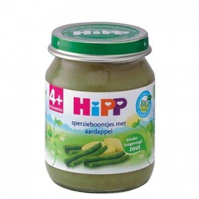 Hipp Bio Maaltijd Sperzieboontjes met Aardappel +4 mnd - +4 maanden - Fruit- en Groentehapjes op Bio Bebo - webwinkel voor biologische babyvoeding.