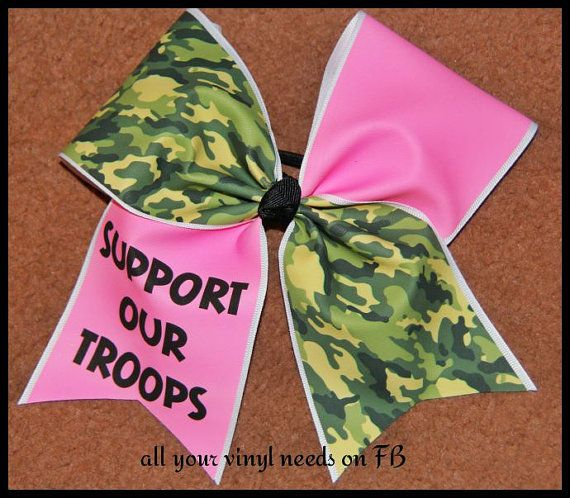 Support our troops pink CAMO cheer bow 3 by Kreationz4kidzdotcom, $15.00