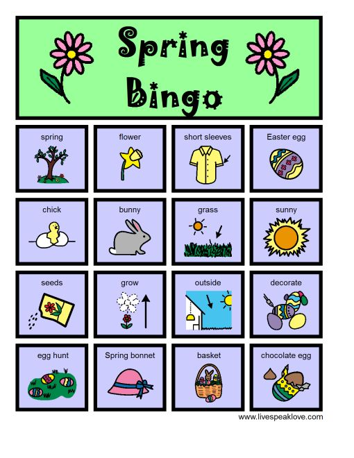 Spring Bingo Boards (a set of 6 for you to download!) As always, I use Bingo Boards to target myriad articulation and language goals including language formulation, descriptive concepts, wh questions, location terms, categories, similarities and differences…and the list goes on!  -  Pinned by @PediaStaff – Please Visit http://ht.ly/63sNt for all our pediatric therapy pins