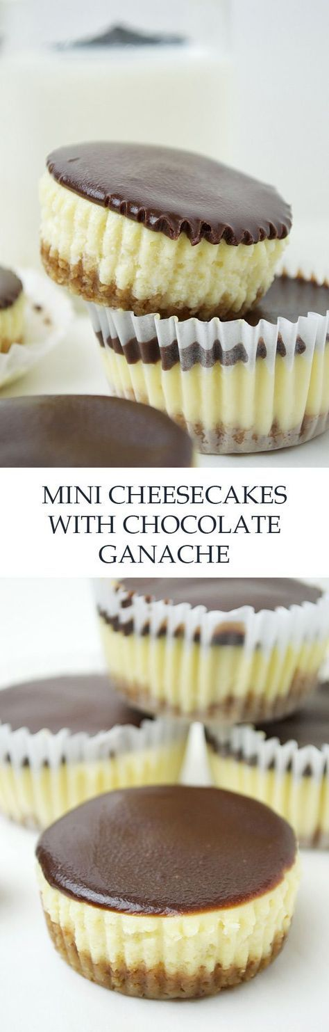 Mini Cheesecakes with Milk + Dark Chocolate Ganache