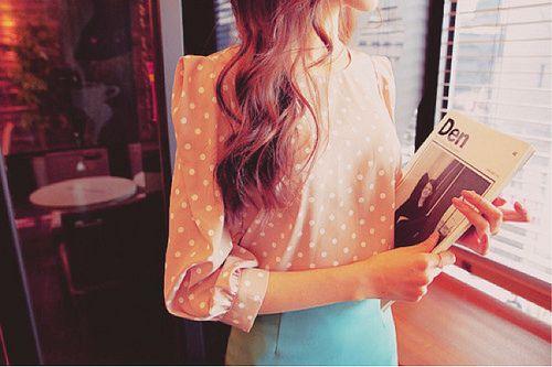 polka dots for spring!Polkadot Fashion, Blouses, Polka Dots, Pretty Polka, Clothing Style, Closets, Outfit, Dots Tops, Lauren Conrad