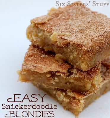 Easy Snickerdoodle Blondies ~ Ingredients needed: 2 2/3 cups flour, 2 tsp baking powder, 2 cups packed brown sugar, 1 cup salted butter, room temperature, 2 eggs, 1 T vanilla. Cinnamon topping: 2 T white sugar, 2 tsp ground cinnamon.