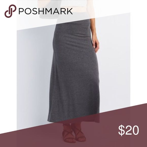 Foldover skirt in Grey Foldover maxi skirt in grey . Material is 87% polyester 9% rayon 4% spandex .                              Size L -Length : 41 waist :33 . Size 1x - length :41 , waist :38. Please ask any Q u have before u buy . Skirts Maxi