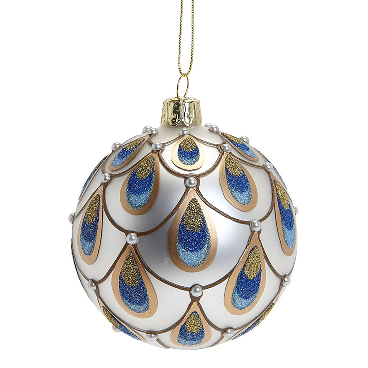 Peacock Ball Ornament In White | Peacock ornaments ...