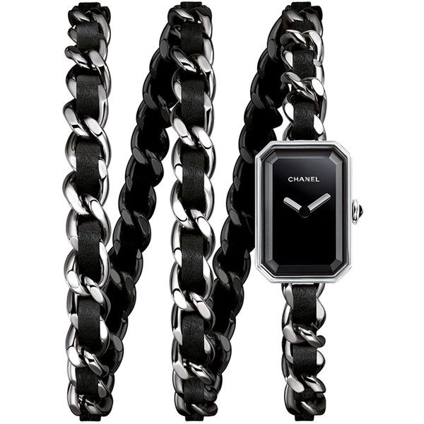 CHANEL PREMIÈRE Rock Steel Triple Wrap Watch ($5,155) ❤ liked on Polyvore featuring jewelry, watches, steel bracelet, bracelet watches, triple wrap watch, chanel watches and black watches