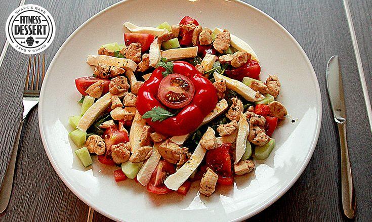 Hähnchen-Mozzarella Salat mit Balsamico-Vinaigrette   FITNESS-DESSERT.DE